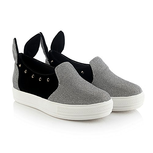 DolphinBanana Cute-To-The-Core Women Fashion Sneakers Bunny Ear Cosplay Slip-On Loafer Casual Low Top Costume Shoes Silver