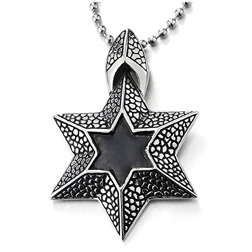 Enamel Star Of David Pendant - COOLSTEELANDBEYOND Men Women Steel Textured Star-of-David Pendant Necklace with Black Enamel, 30 inches Chain