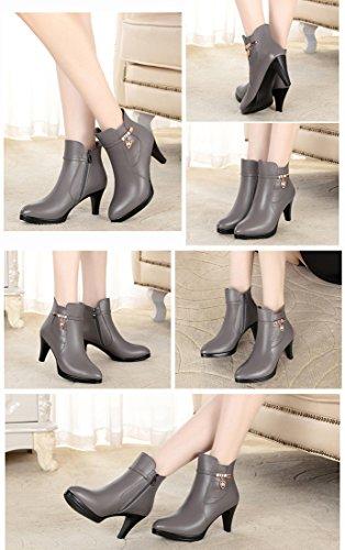 Honeystore Damen Stiefeletten High Heels Spitze Stiletto Ankle Boots mit Reißverschluss Schnalle 7cm Absatz Elegante Schuhe Dunkelgrau