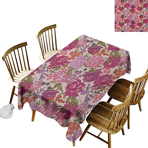 (DONEECKL Shabby Chic Home Decoration Tablecloth Anti-Overflow Tablecloth Peonies BlackBerry and Wild Flowers in Vintage Style Colorful Nature Theme Multicolor W52 xL70)