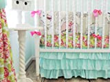 Tushies and Tantrums Boutique Birds with Floral Sheet and Aqua Skirt Crib Set
