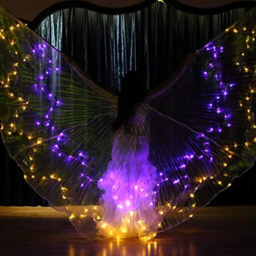 m·kvfa LED Isis Wings Glow Light Up Belly Dance Club Costumes Performance Clothing for Women Girls Carnival Halloween Party (Yellow) -
