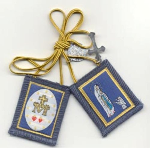 (Blue Immaculate Conception Scapular with Two Hearts on Reverse)