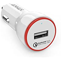 Anker PowerDrive + 1 24W Quick Charge 3.0 USB Car Charger for Samsung Galaxy S8/S7/S6/Edge/Plus, Note 5/4, LG G4, HTC One M8/M9, Nexus 6, iPhone, iPad and More (White)