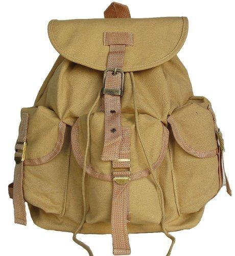 Cheap Military Inspired Stylish Rucksack Backpack Bookbag Day Pack Beige