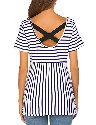 Sweetnight Womens Summer Short Sleeve Fashion Striped Shirts Criss Cross Casual T-Shirt Blouse (Navy Blue, XL)