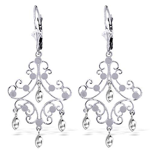 14K Solid White Gold Chandelier Earrings ()