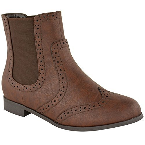 WOMENS LADIES FLAT SLIP PULL ON VINTAGE ANKLE CHELSEA BROGUE WINTER BOOTS SIZE Brown Faux Leather C3GEXoeqqk