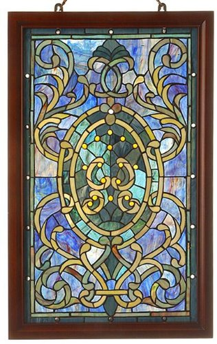 Warehouse of Tiffany HF-195 Tiffany-Style Boarder Wooden Frame Window Panel, Green
