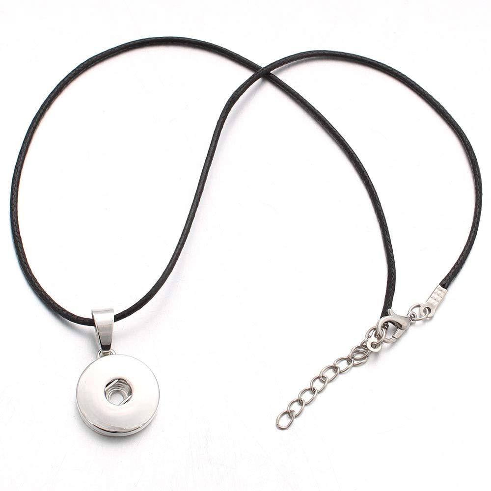 Metal Color: 1 Davitu Fashion Snap Pendant Necklace 18 20mm Classic Snap Necklaces Women Bohemia Snap Chains Necklaces ZG043