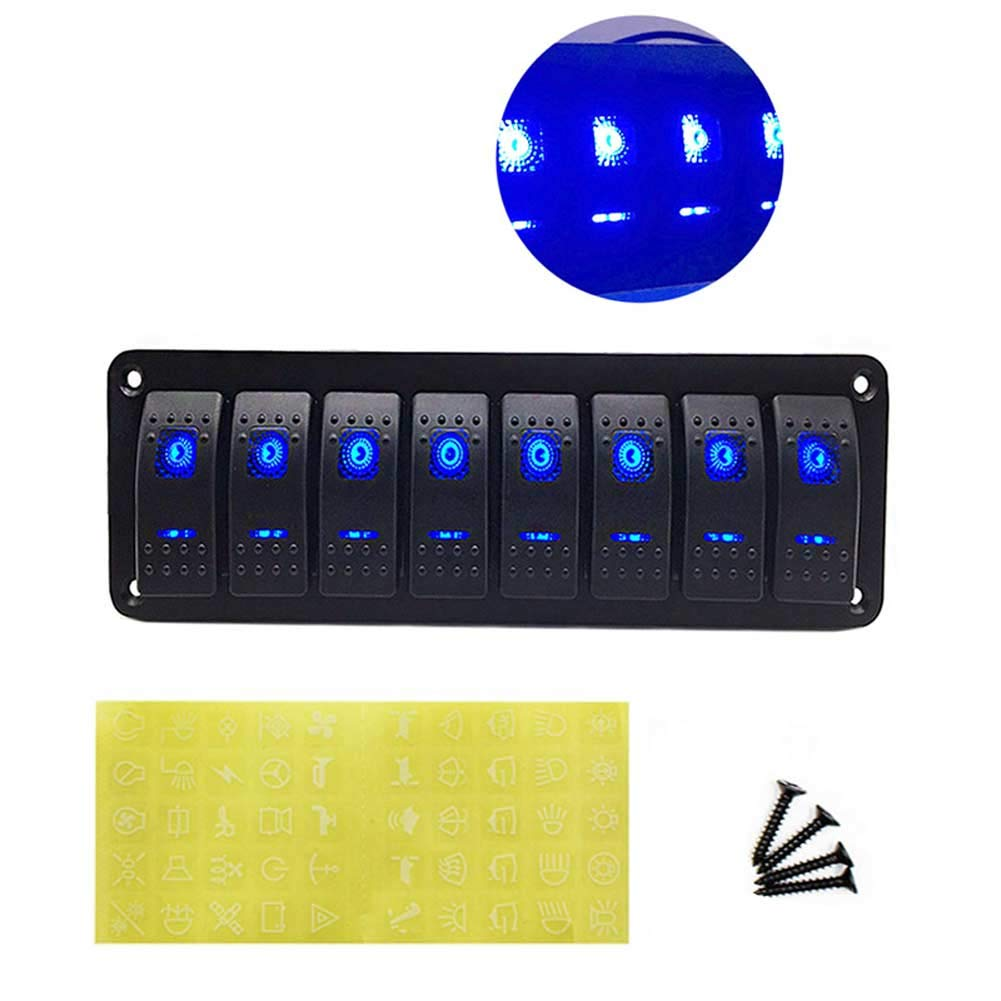 CT-CARID 8 Gang Switch Panel 12V Waterproof Boat Switch Panel 8 Gang with Blue LED Light for Car Marine RV Truck Camper Vehicles