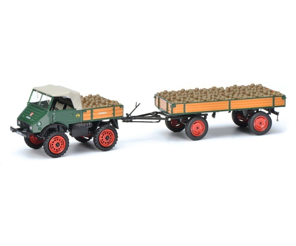 Schuco 450313000 Unimog U401 mit Hänger und Ladegut