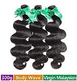 Rechoo Mixed Length Malaysian Virgin Remy Human Hair Extension Weave 3 Bundles 300g - Natural Black,10