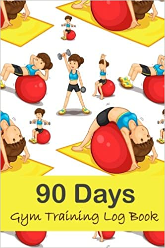90 days gym training log book woman exercises fitness journal