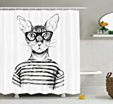 Ambesonne Cat Shower Curtain, Hand Drawn Dressed Up Hipster New Age Cat...