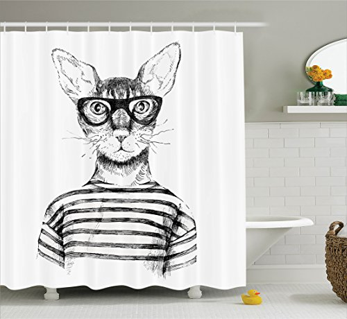 New Bathroom Art (Ambesonne Cat Shower Curtain, Hand Drawn Dressed Up Hipster New Age Cat Fashion Urban Free Spirit Artwork Print, Fabric Bathroom Decor Set with Hooks, 70 Inches, Black White)