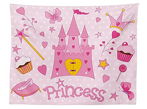 Mardi Gras Ball Wand (vipsung Kids Tablecloth Little Princess Tiara Slippers Fairy Castle Butterfly Heart Lollipop Wand Cupcake Girls Party Print Dining Room Kitchen Rectangular Table Cover)