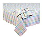 Spring Cotton Plaid Check Fabric Tablecloth (60 x 102 Rectangle/Oblong)