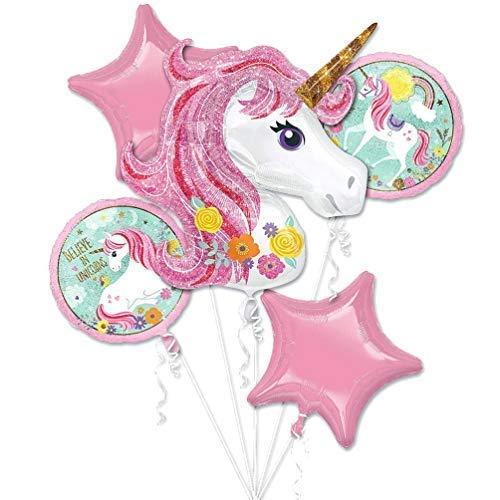 Unicorn Balloon Rainbow Bouquet Theme Party Supplies Niños Niñas Lámina de cumpleaños Decoraciones con globos de helio Decoración mágica Paquete de 5 ...