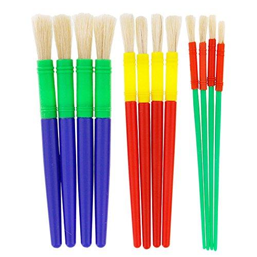 (US Art Supply 12 Piece Round Children's Tempera Paint Brushes in 3 Sizes)