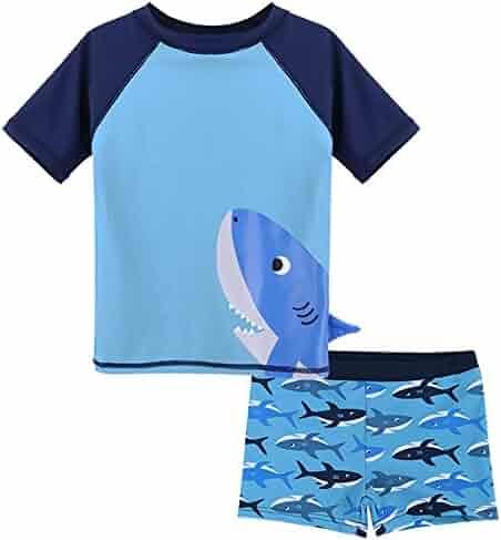 ffed86add1779 HUANQIUE Baby Boy Swimsuit Rash Guard Swimwear Two Piece Short Sleeve 3-6  Months