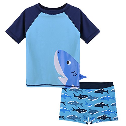 HUANQIUE Baby Boy Swimsuit Rash Guard Swimwear Two Piece Short Sleeve 6-12 Months by HUANQIUE