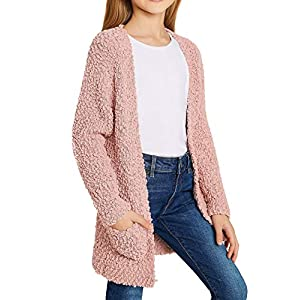 luvamia Girl's Casual Open Front Long Cardigan Sweaters with Pockets 4-13 Years