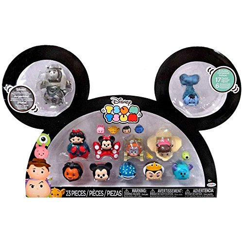 Disney Tsum Tsum Buzz, Woody, Snow White, Minnie, King Louie, Boo, Scar, Mickey, Destiny, Maleficent, Sully & Eeyore 1-Inch Minifigure 17-Pack]()