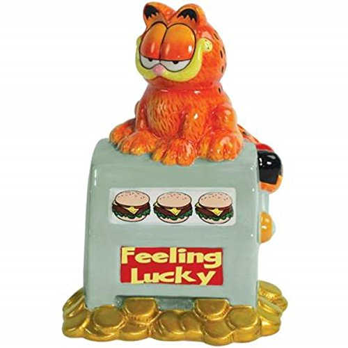 WL 7.25 Inch Feeling Lucky Garfield and Slot Machine Piggy Savings Bank