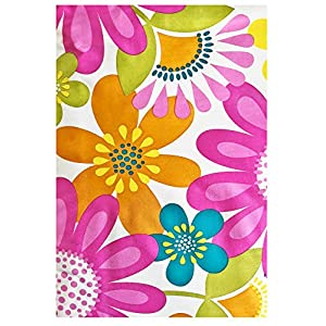 Mod Floral Splash Print Vinyl Flannel Backed Tablecloth, Indoor/Outdoor Tablecloth for Easter, Picnics, Barbeque, Patio and Kitchen Dining, (70 Inch Round)