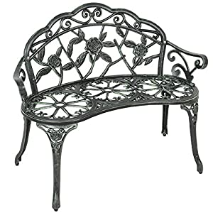 Outdoor Patio Garden Bench Park Yard Furniture Cast Iron Antique Rose Design + FREE E-Book