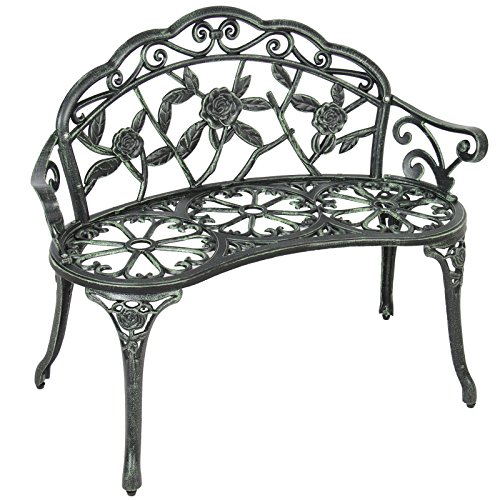 BCP Outdoor Patio Garden Bench Park Yard Furniture Cast Iron Antique Rose Design Bcp Panel