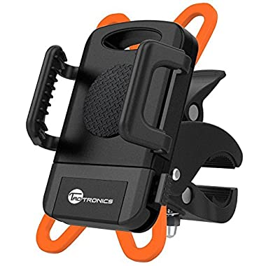 TaoTronics Bike Phone Mount Bicycle Holder, Universal Cradle Clamp for iOS Android Smartphone, Boating GPS, Other Devices, with One-button Released, 360 Degrees Rotatable, Rubber Strap - Black