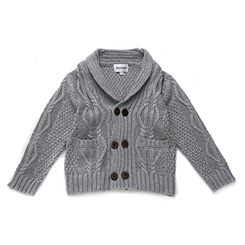 DOYOMODA Baby Boys Cable Knit Cardigan Shawl Collar Sweater (24M, GREY)