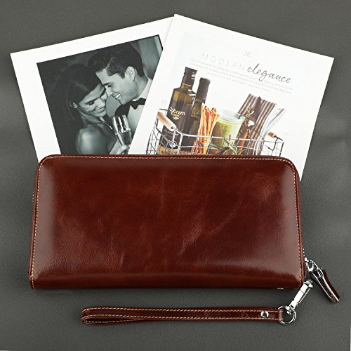 Dante Women's RFID Blocking Wax Real Leather Zip Around Wallet Clutch Large Travel Purse(Large Size Coffee)