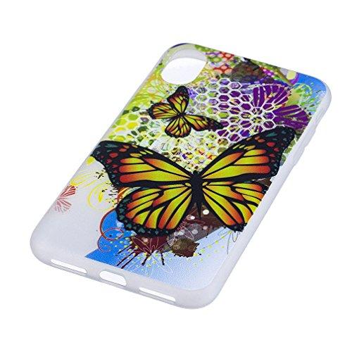 Funda iPhone X,XiaoXiMi Carcasa de Silicona TPU Suave y Esmerilada Funda Ligero Delgado Carcasa Anti Choque Durable Caja de Diseño Creativo - Lobo Mariposa