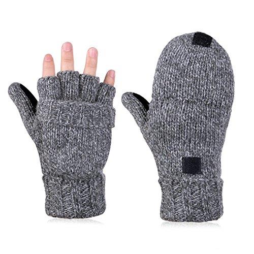Vbiger+Winter+Warm+Wool+Mittens+Gloves+%28Dark+Grey%29