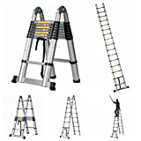 GOOD LIFE 16.5' FT EN131 Professional Folding Aluminum Multi Purpose Telescoping Ladder Extension Extendable Ladder with Spring Loaded Locking Non-slip HMI419