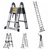 GOOD LIFE 16.5' FT EN131 Professional Folding Aluminum Multi Purpose Telescoping Ladder Extension Extendable Ladder with Spring Loaded Locking Non-slip HMI419