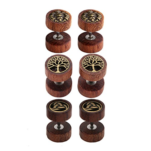 JOVIVI 2-4pc Organic Sono Wood Lion Head/Tree of Life Cheater Fake Ear Plugs Gauges 10mm Illusion Screw Stud Earrings (Mixed style 3pairs)