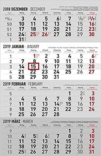 4 Monatskalender 2019 Wandkalender Burokalender 30 X 60 Geoffnet