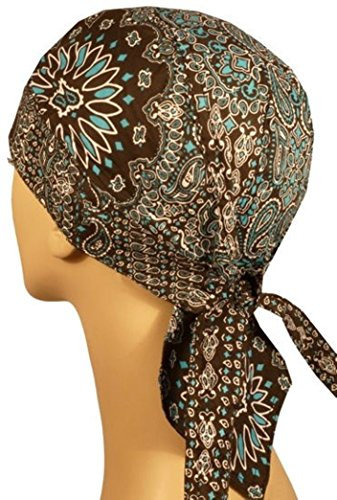 Deluxe Skull Cap (Danbanna Deluxe Combo Teal and Black Paisley Head Wrap Doo Rag Skull Cap with Terry Cloth Sweatband By Capsmith)