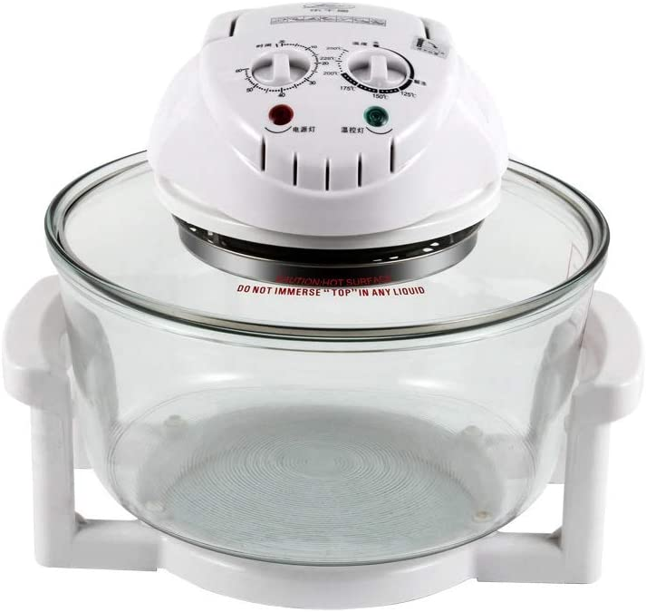 KLYHCHN Air Fryer Large Oilless Cooker with Detachable Dishwasher Safe Basket 1300W Halogen Oven 12L Turbo Oven 220V Conventional Infrared Super Wave Oven Electric Fryer (White)