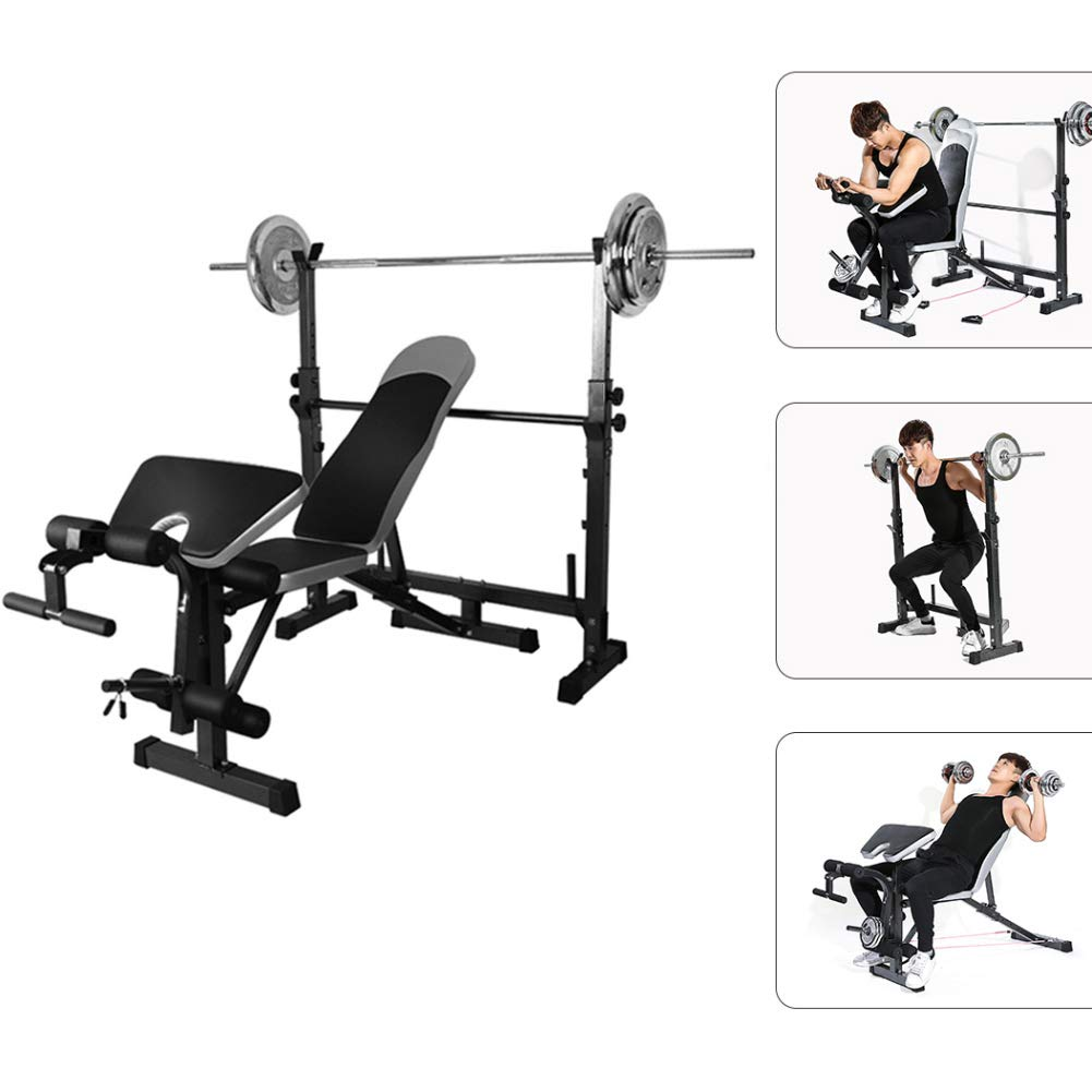 Squat Rack Slimming Multi-Station Weight Bench Press Incline Flat Decline Sit Up Bench Weight AB Bench Board Barbell Squat Rack Home Gym