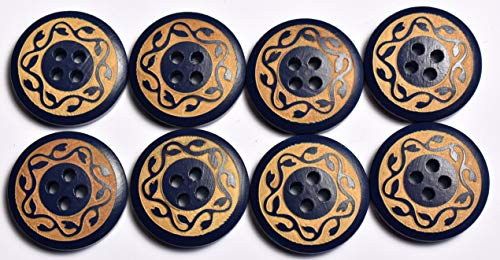 SFG Laser Engraved Round Wood Buttons Vine 4 Holes 32L 20mm 3/4in (Blue Qty 8)