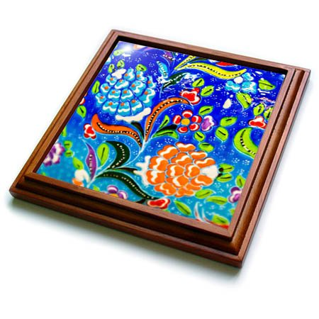 3dRose Danita Delimont - Artwork - Ancient Arab Islamic Blue Orange Flower Design, Madaba, Jordan - 8x8 Trivet with 6x6 ceramic tile (trv_276929_1) by 3dRose