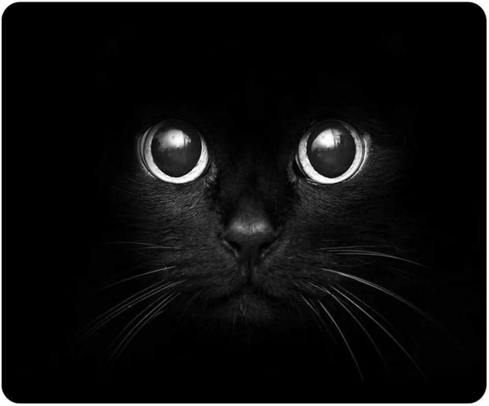 Personalized Unique Design Oblong Shaped Mouse Pad Black Cat