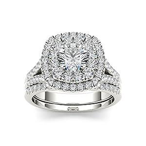 IGI Certified 14k White Gold 2ct TDW Round Cut Diamond Double Halo Engagement Ring Set (I J, I2)