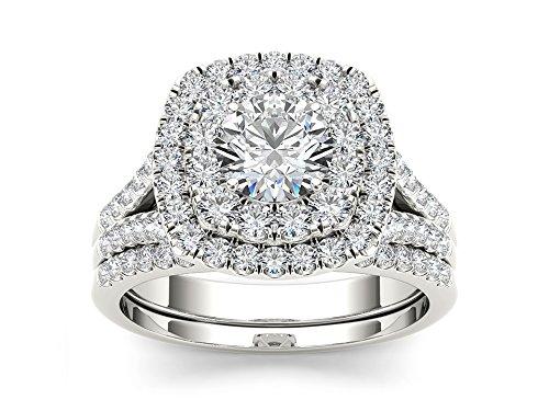 De Couer 14k White Gold 2 ct TDW Round Cut Diamond Double Halo Engagement Ring Set (H-I, I2)