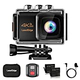 LeadEdge Action Camera 4K EIS Anti-Shake WiFi 20MP Waterproof Sports Cam Underwater DV Ultra HD 4K/30FPS 1080P/60FPS 30M Diving Remote Control/External MIC/Tripod/Carrying Case/2 Batteries